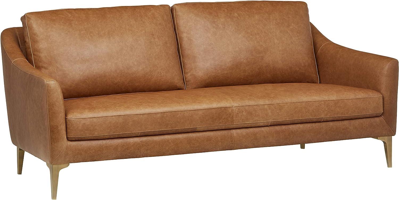 """Amazon.com: Amazon Brand – Rivet Alonzo Contemporary Leather Sofa Couch, 80""""W, Cognac: Furniture & Decor"""