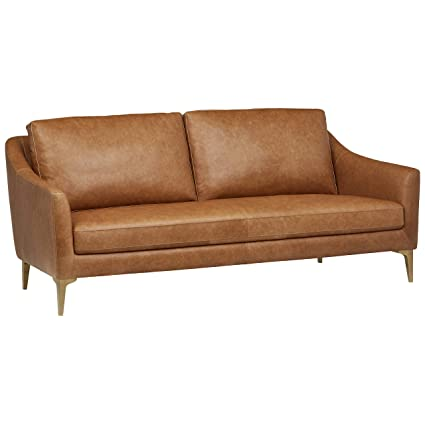 Rivet Alonzo Contemporary Modern Leather Sofa Couch, 80\