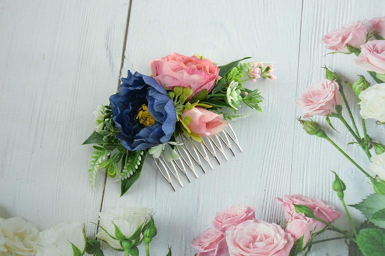 Amazon Com Navy Blue Hair Comb Flower For Bride Headpiece Hair Clip Wedding Bride Handmade