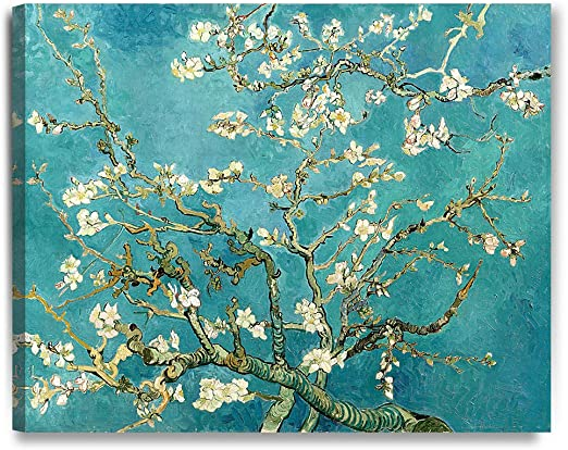 ALMOND BLOSSOM TREE  OIL  PAINT  BY VAN GOGH REPRINT  ON FRAMED CANVAS WALL ART