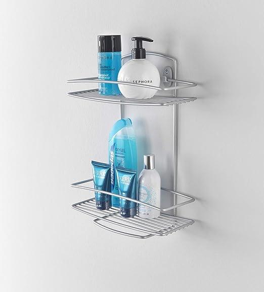 Metaltex Estante baño 2 Pisos, Metal, Gris Metalizado: Amazon.es ...