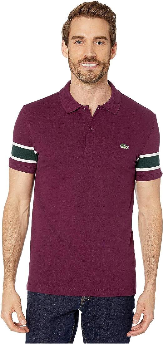 Lacoste Mens Short Sleeve Semi Fancy Stretch with Fine Stripe Slim Polo