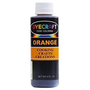 DyeCraft Orange Food Coloring (LARGE 4 oz Bottle) Odorless, Tasteless, Edible - Perfect for Baking, Cooking, Arts & Crafts, Decorations and More