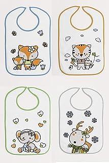 Ti TIN - Pack de 3 Baberos Impermeables para Bebé con Cierre con Goma con Forro de Vinilo | Tacto muy Suave para Bebés de Más de 1 Año: Amazon.es: Bebé