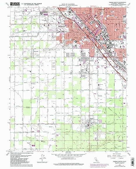 Map Of California Fresno.Amazon Com Yellowmaps Fresno South Ca Topo Map 1 24000 Scale 7 5