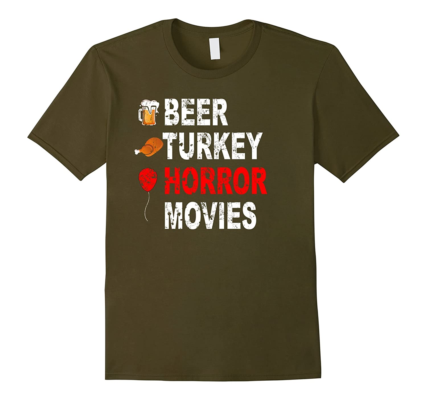 Beer Turkey Horror Movies The Best Thanksgiving Ever T-Shirt-Rose