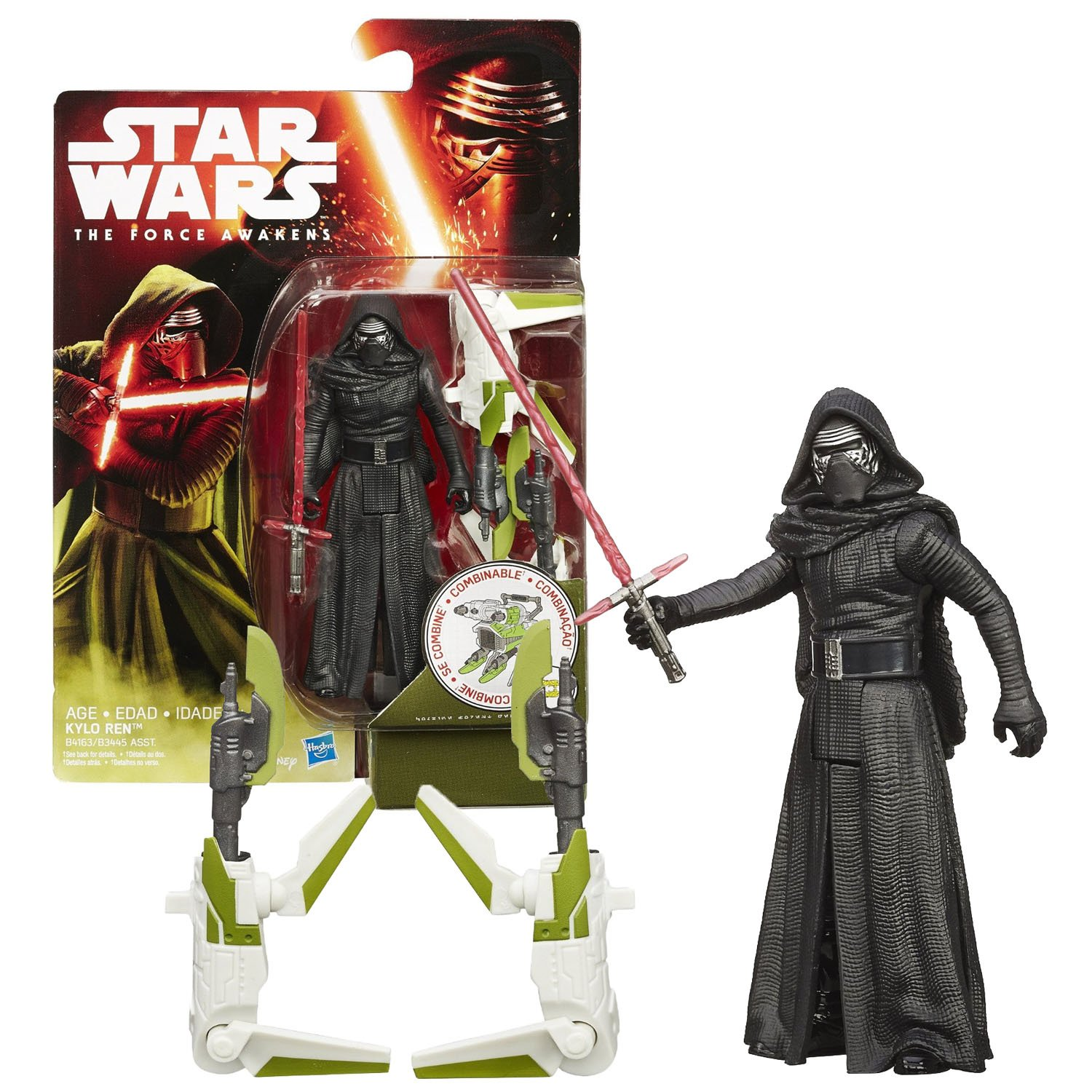 Hasbro Year 2015 Star Wars The Force Awakens Series 4 Inch Tall Action Figure - KYLO REN (B4163) with Red Lightsaber Plus Build A Weapon Part #3