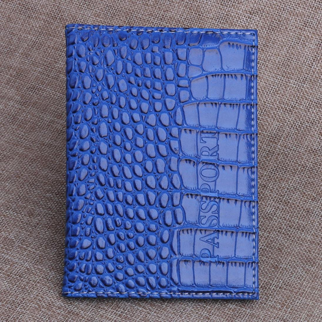 Passport Holder, Aobiny Protector Wallet Business Card Soft Passport Cover Leather (Blue) by Aobiny (Image #2)