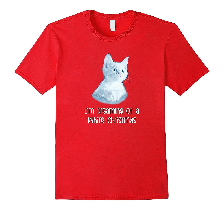 Christmas Cat: White Kitten Christmas Tops For Women-ANZ