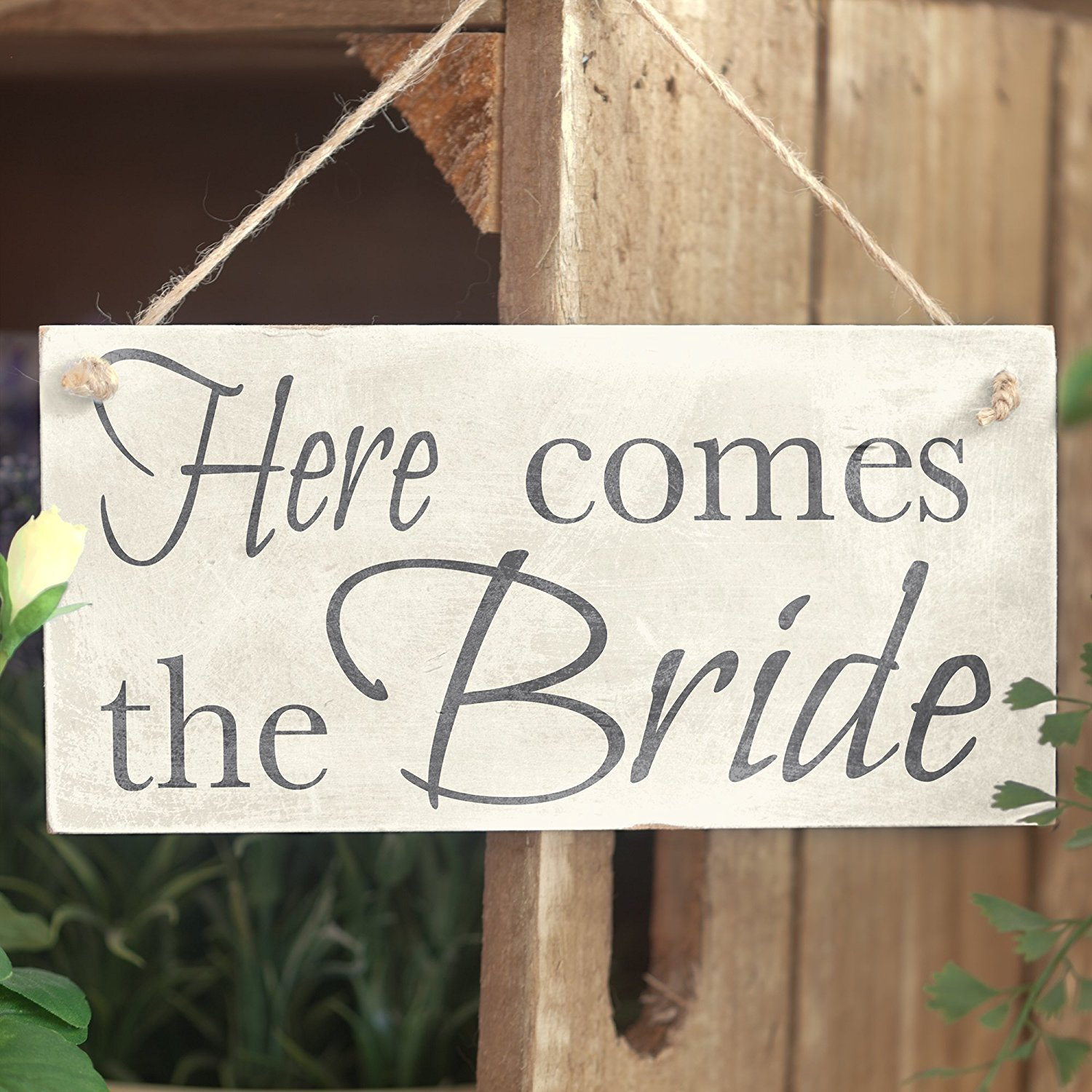Meijiafei Here Comes The Bride Wedding Accessory PVC Sign Decoration 10x5