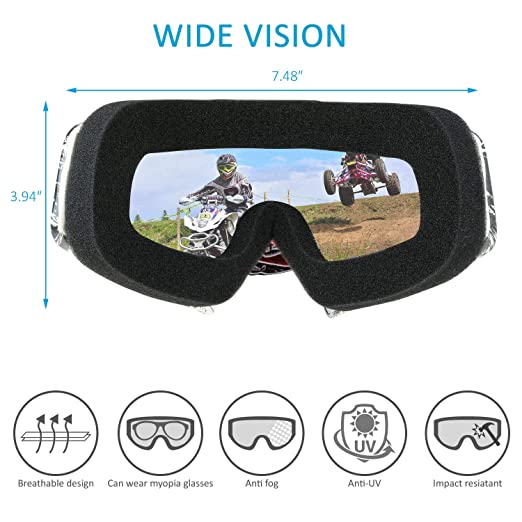 Amazon.com: Fodsports Motorcycle Motocross Goggles Anti UV Safety Goggles Dirt Bike Goggles Dustproof Motorcycle Glasses for Cycling Riding Climbing Skiing ...