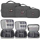BUBM Gadgets Case [3-piece] Travel Electronics Organiser SLR Camera/Photography Gear, Data Cables, Chargers, Plugs, Memory Cards, Power Lead Other Tech Gadgets, Denim Grey