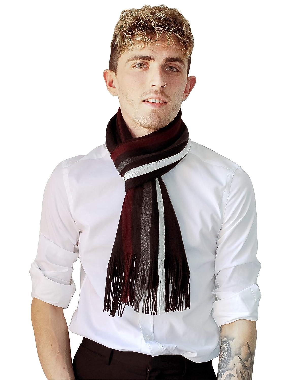 SEW ELEGANT NEW Mens Prime Warm Soft Knitted Stripes Winter Scarf Wine