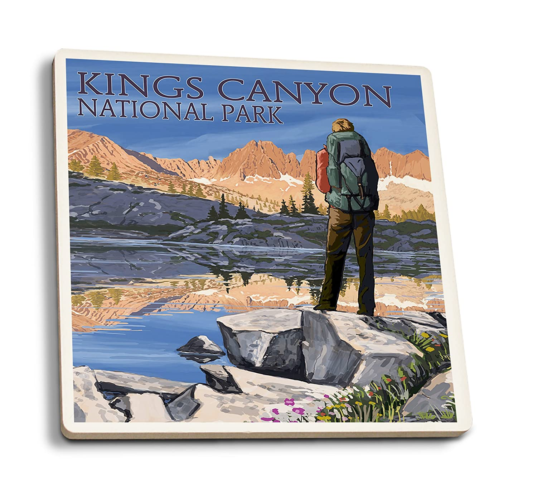 2019人気No.1の Hiker Set and by Lake - Kings Canyon National Park, Park, California (16x24 Giclee Gallery Print, Wall Decor Travel Poster) by Lantern Press B01FOLVCV0 4 Coaster Set 4 Coaster Set, 全国総量無料で:225c1d9d --- arianechie.dominiotemporario.com
