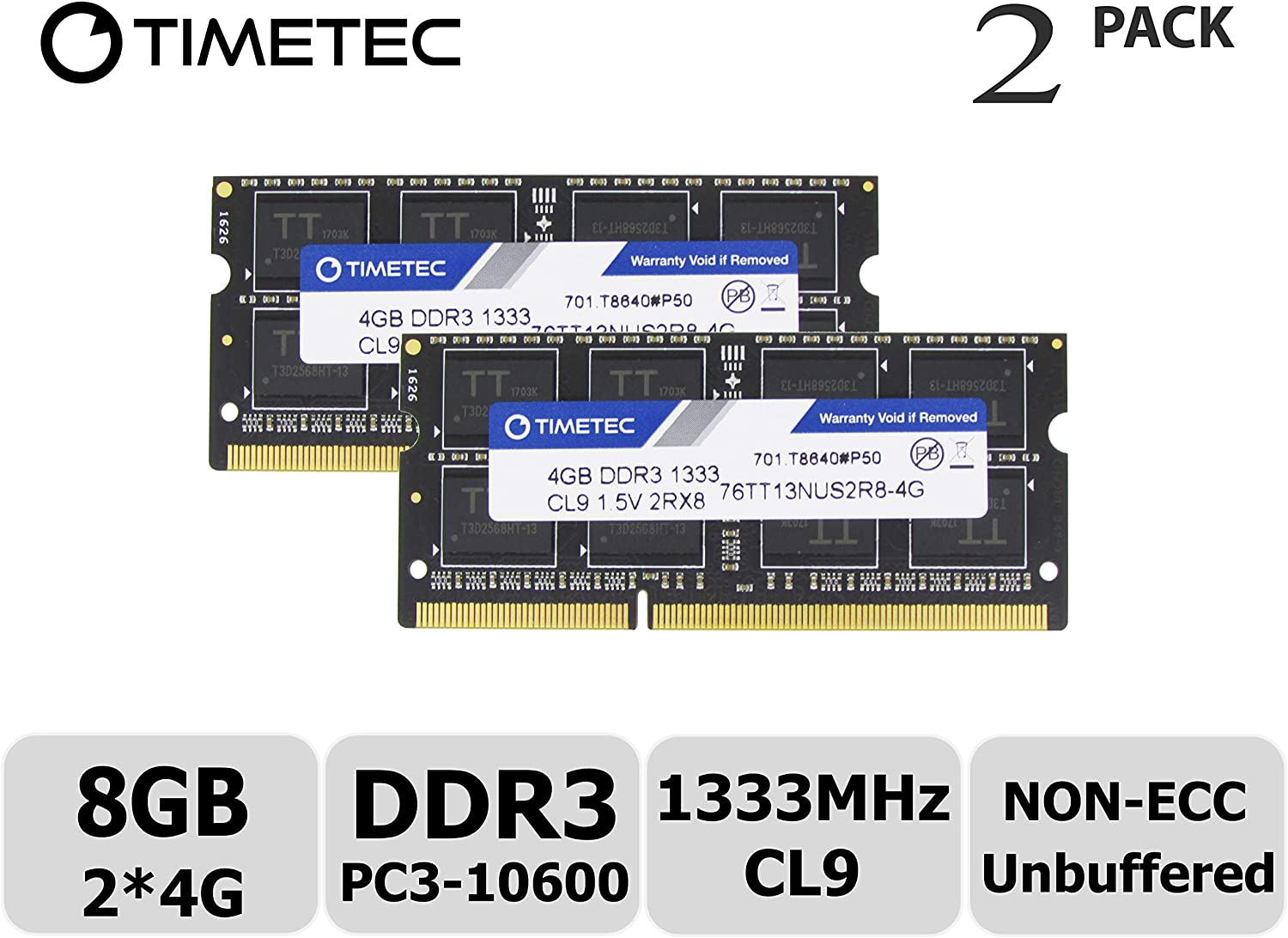 Timetec Hynix IC 8GB KIT (2x4GB) DDR3 1333MHz PC3-10600 Non ECC Unbuffered 1.5V CL9 2Rx8 Dual Rank 204 Pin Sodimm Laptop Notebook Computer Memory Ram Module Upgrade (Low Density 8GB Kit (2x4GB))