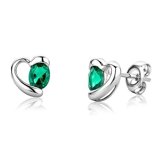 245a1cef08 Miore Orecchini Donna Piccoli a Lobo Cuore Smeraldo (Verde), Oro Bianco 9 Kt  / 375: Amazon.it: Gioielli
