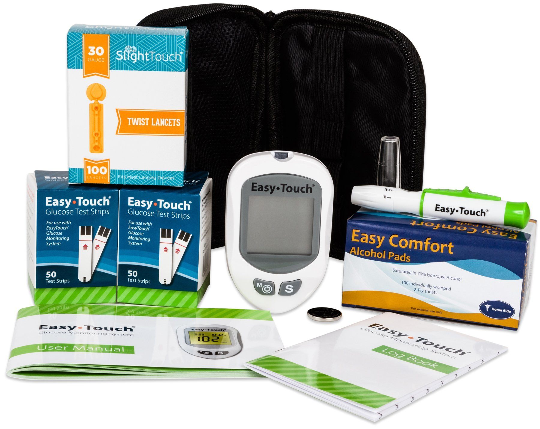 Easy Touch Diabetes Testing Kit - Easy Touch Meter, 100 Easy Touch Blood Glucose Test Strips, 100 Slight Touch Lancets 30g, Lancing Device and 100 Slight Touch Alcohol Pads