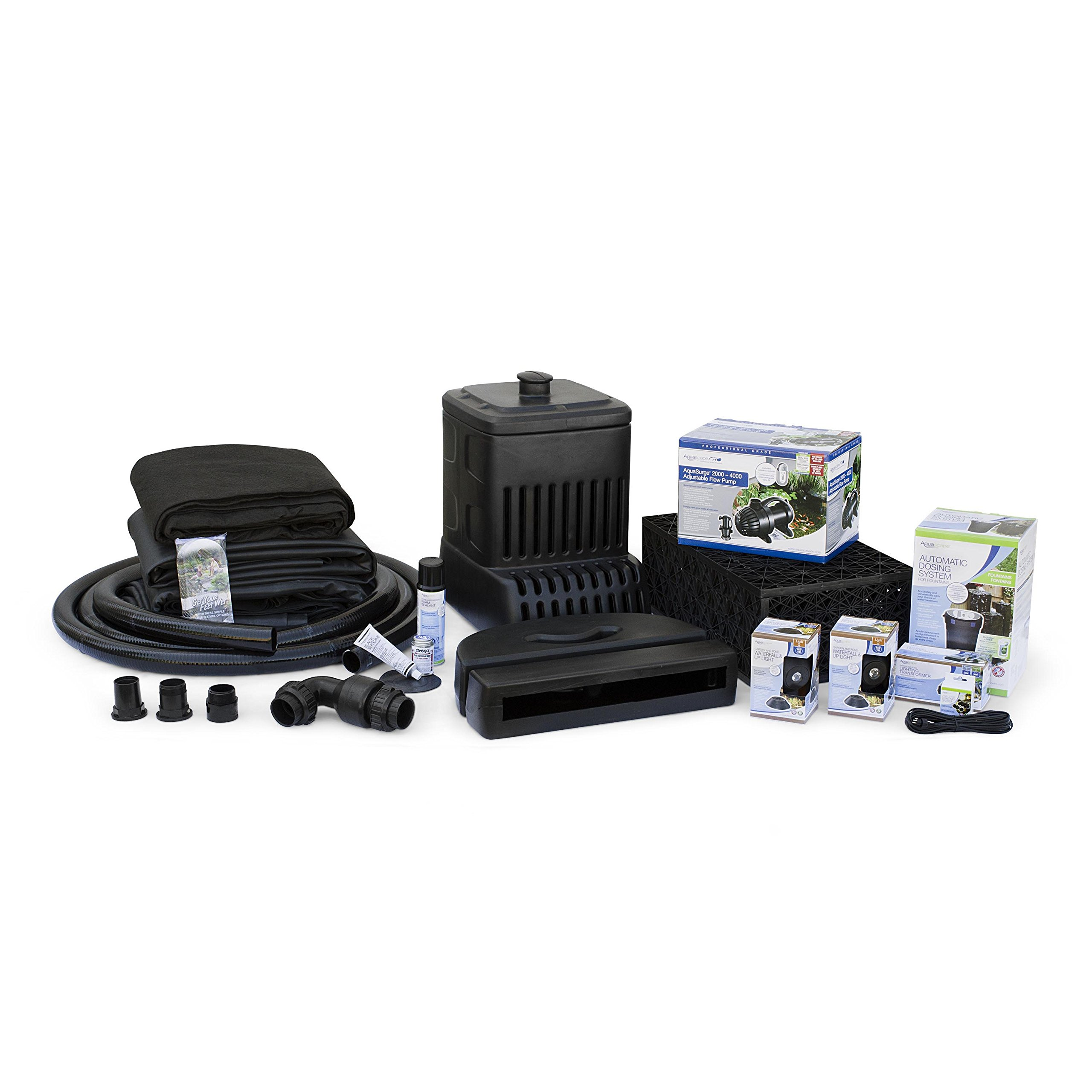 Aquascape Complete Waterfall Kit with 16 Feet Stream | Medium | AquaSurgePRO 2000-4000 Pump by Aquascape