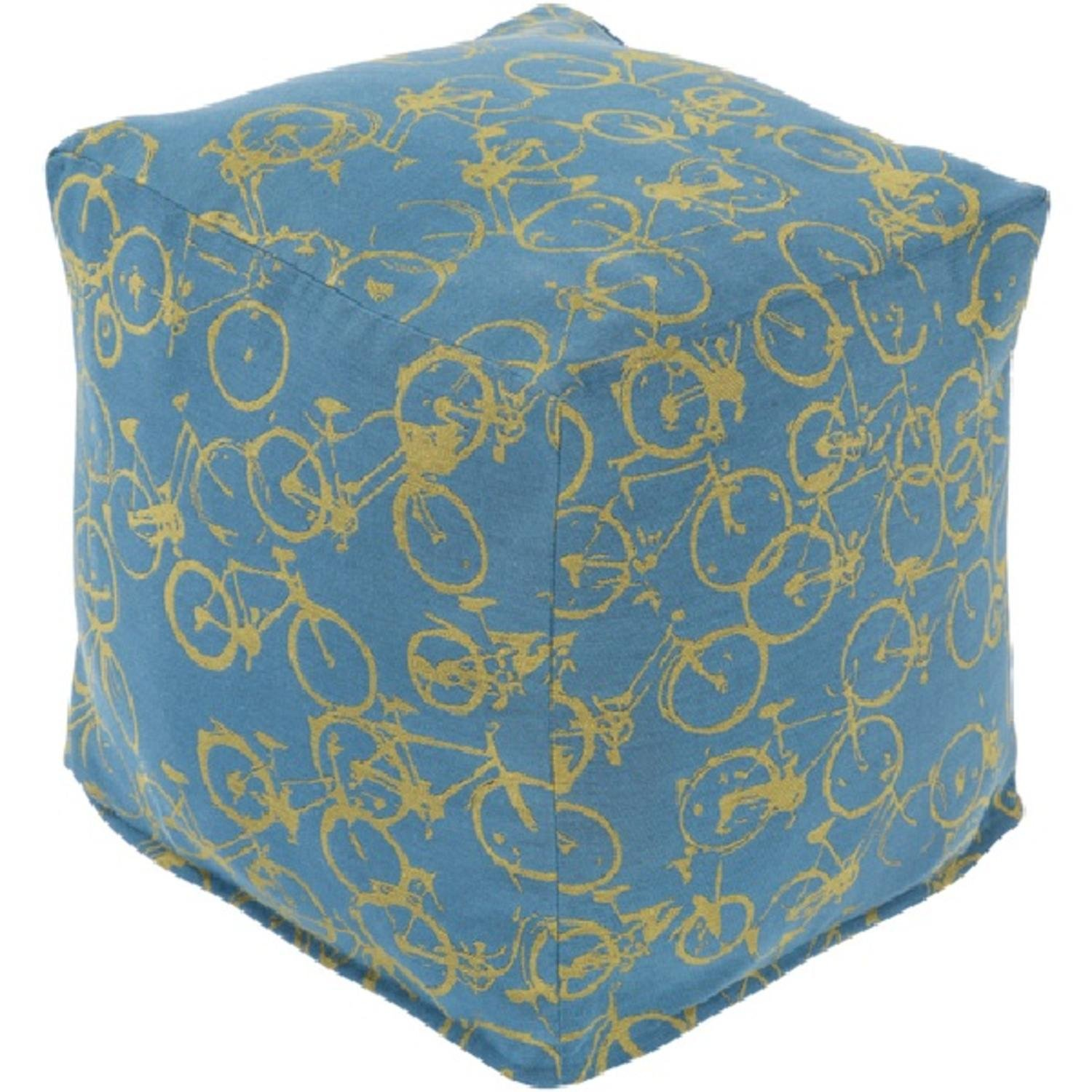 18'' Peddle Power Lime and Sky Blue Whimsical Square Pouf Ottoman