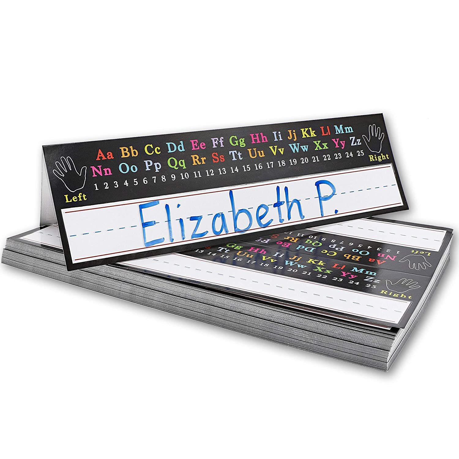 11.5 x 7 Inches Juvale 72-Pack Student Classroom Desk Tent Name Plates Alphabet Design