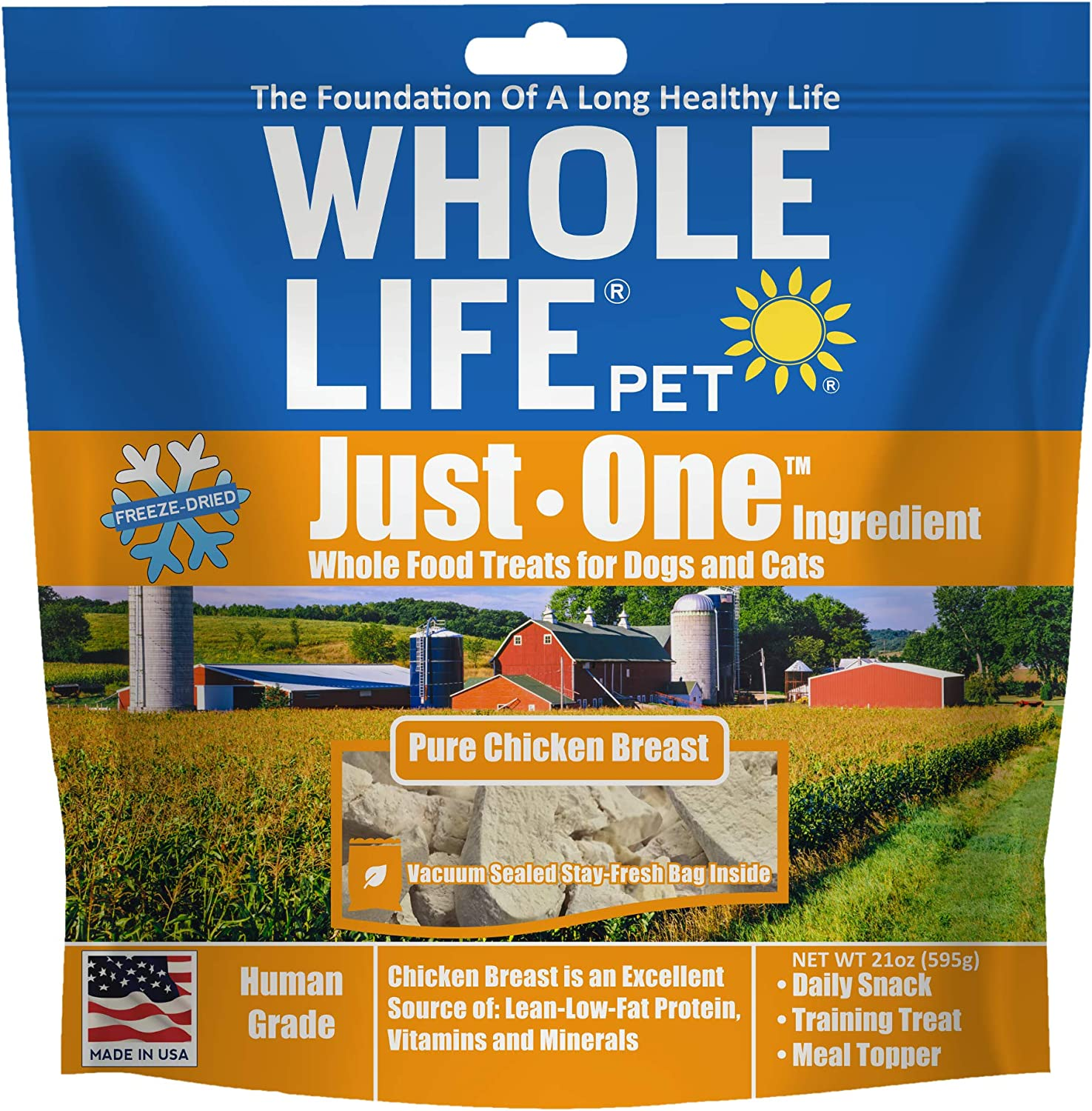 Whole Life Pet Healthy Dog and Cat Treats Value Pack, Human-Grade Whole Chicken Breast, Protein Rich for Training, Picky Eaters, Digestion, Weight Control, Made in The USA