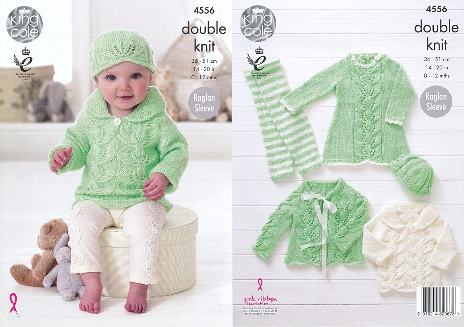 King Cole Baby Double Knitting Pattern Raglan Sleeve Dress Cardigan ...