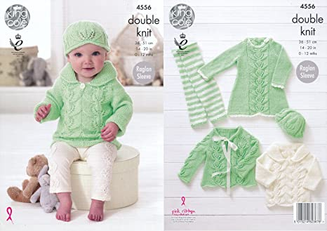 f9c603c3e158 King Cole Baby Double Knitting Pattern Raglan Sleeve Dress Cardigan ...