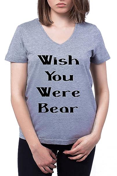 93355395 Wish You were Bear Mujers V-Neck T-Shirt: Amazon.es: Ropa y accesorios