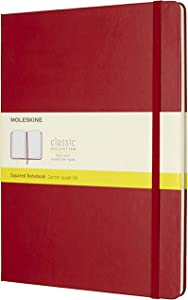 "Moleskine Classic Notebook, Hard Cover, XL (7.5"" x 9.5"") Squared/Grid, Scarlet Red, 192 Pages"