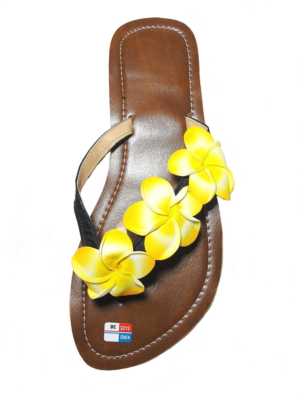 Unbekannt Damen Flip Sandale Hibiskus Zehentrenner Zehenpantolette  43 EU Gelb