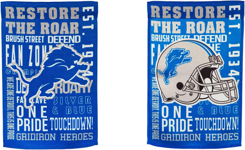 Team Sports America Detroit Lions Fan Rules Garden Flag - 13 x 18 Inches