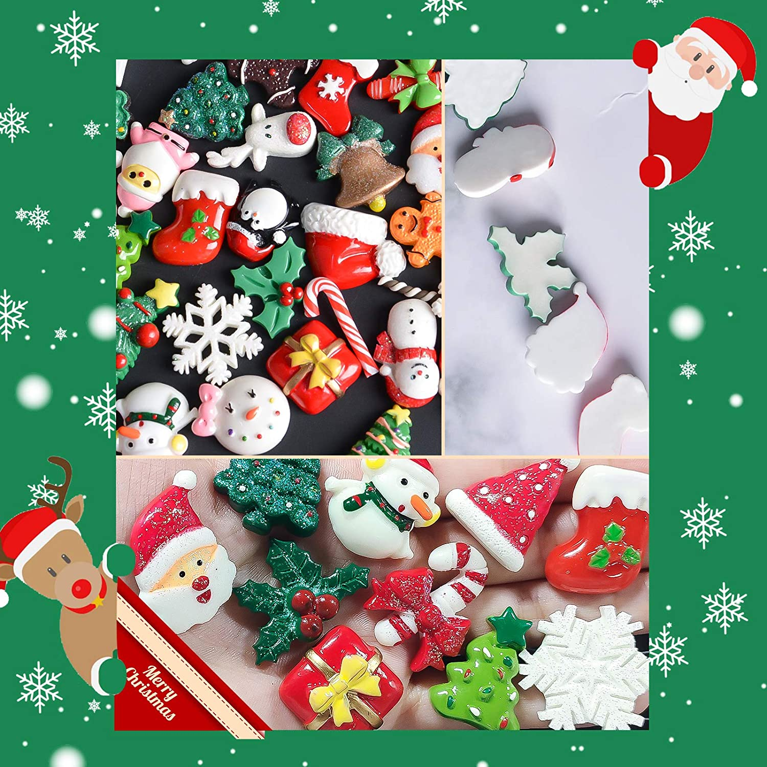 Kaloraly Christmas Assorted Craft Resin Ornaments Miniature Ornaments Santa Snowman Tree Bell Resin Decoration for Craft Making Ornament Scrapbooking DIY Crafts 50Pcs