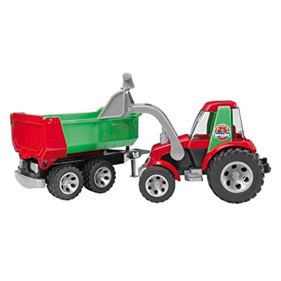 Bruder Tractor with Frontloader and Rear Tipper: Toys & Games