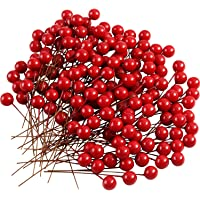 TUPARKA 150 Pezzi Mini 10 mm Artificiale Bacche di Agrifoglio Decorazioni Albero di Natale Decorazioni Natale Albero Ancora Ciondolo Mestiere Fiore Corona Fai da Te