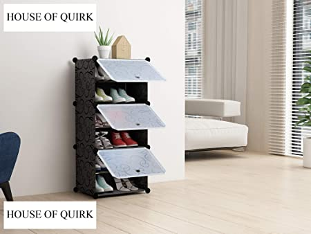 House of Quirk 6 Layer Portable Plastic Shoe Storage Organizer (Black)