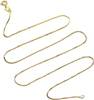 Kezef 18k Gold Over Sterling Silver 1mm Box Chain Necklace Made in Italy Available 14 inch- 40 inch