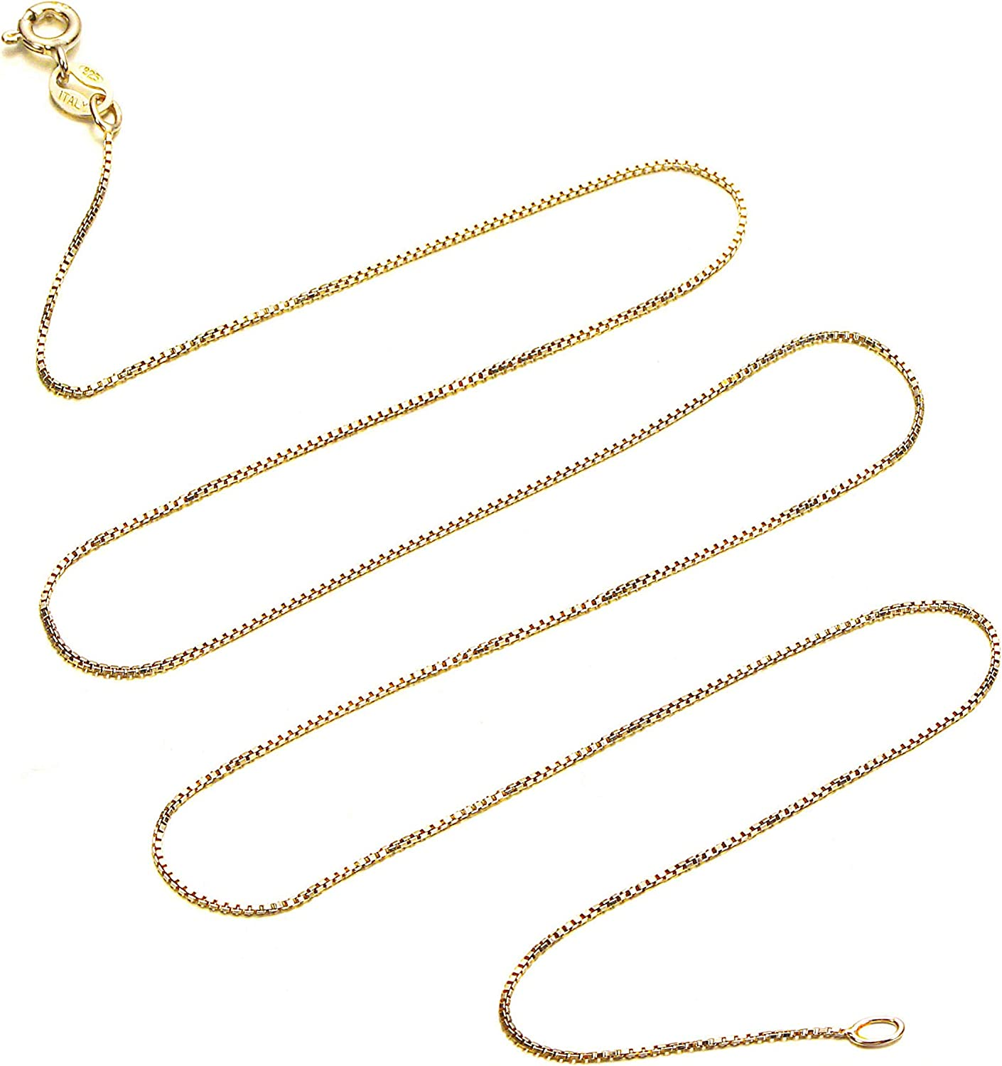 Kezef 18k Gold Over Sterling Silver 1mm Box Chain Necklace Made in Italy Available 14 inch 40 inch
