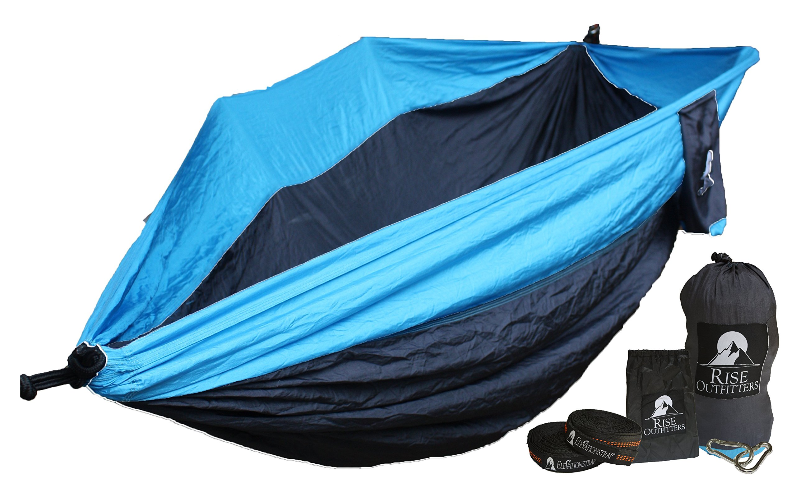 Unigear Double Camping Hammock, Portable Parachute Nylon Hammock with Tree Straps for Backpacking, Camping, Hiking, Travel, Beach and Yard (Black/Blue, 270cm x 140cm)