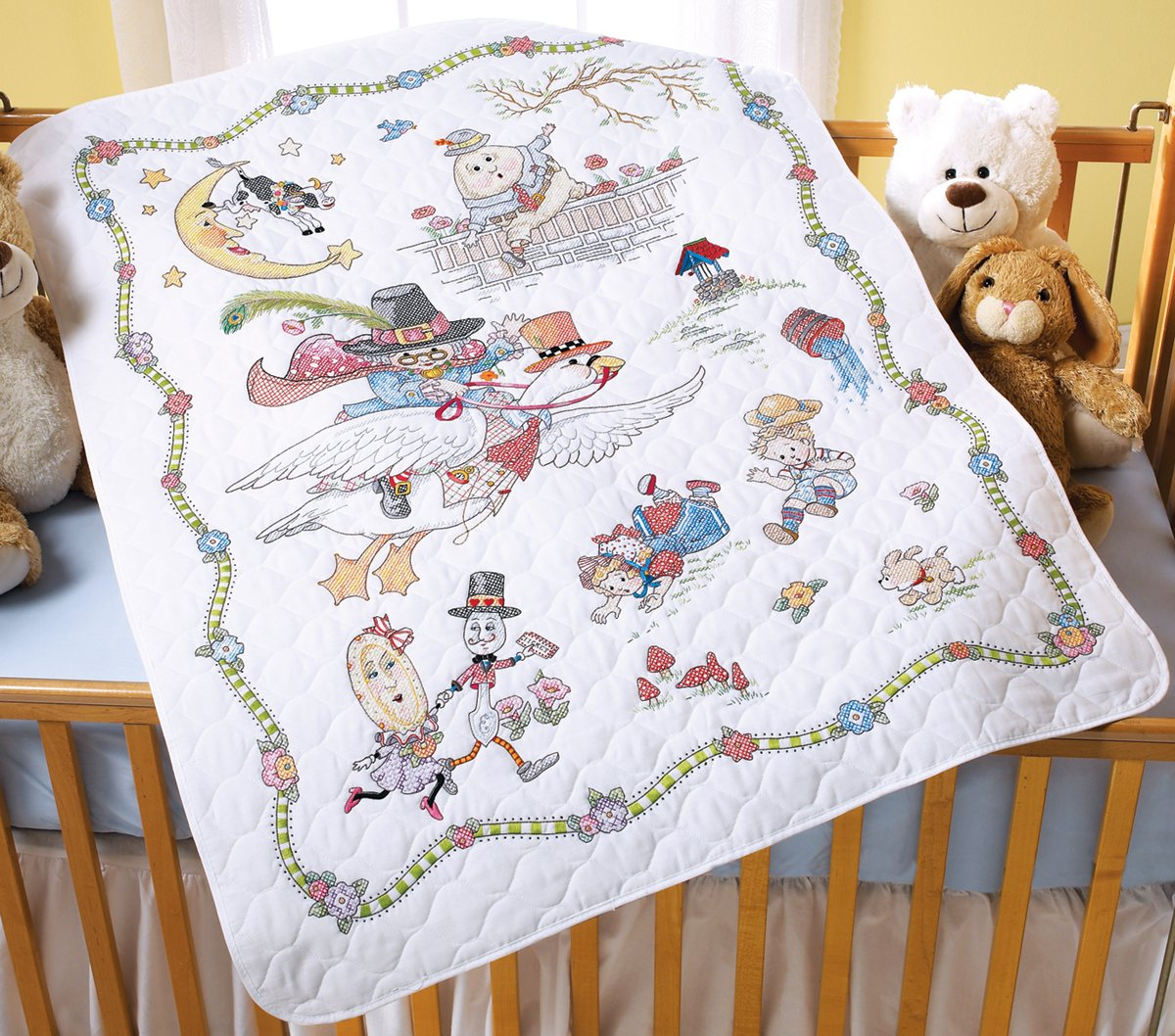 Mary Engelbreit Mother Goose Crib Cover Stamped Cross Stitch-34''X43'' by Bucilla