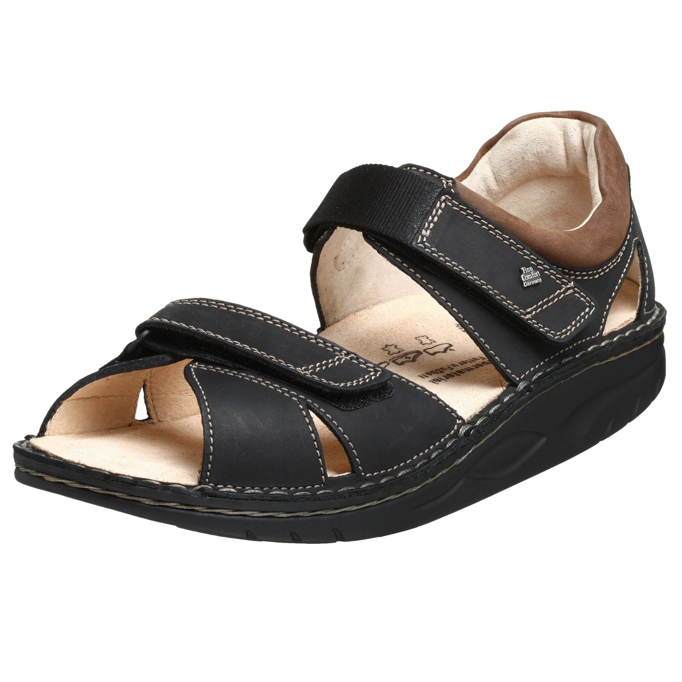 Finn Comfort Men's Samara Sandals,Black/Havanna Buggy,38 M EU by Finn Comfort