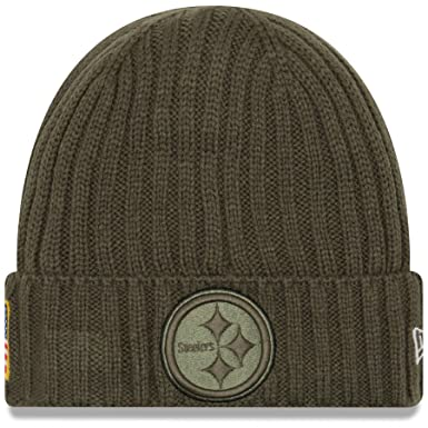 New Era Men s Men s Steelers 2017 Salute to Service Cuffed Knit Hat Olive  Size ... b7fcc8c1d