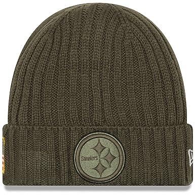 d0d7478107d New Era Men s Men s Steelers 2017 Salute to Service Cuffed Knit Hat Olive  Size ...
