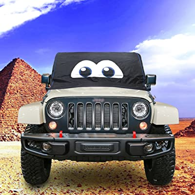 Jade Onlines Magnet Snow Windshield Cover Large Size for Jeep Wrangler JK JL Three Layer Protection Ice Removal Wiper Visor Protector All Weather Winter Heat Insulation Waterproof Cartoon Eyes Cover: Automotive