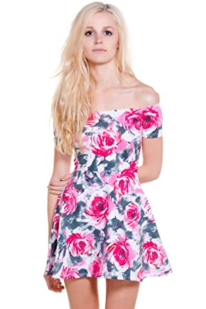 9f614ce69 Motel Rocks Catalina Off Shoulder Skater Dress in Flower Buzz (X-Small)
