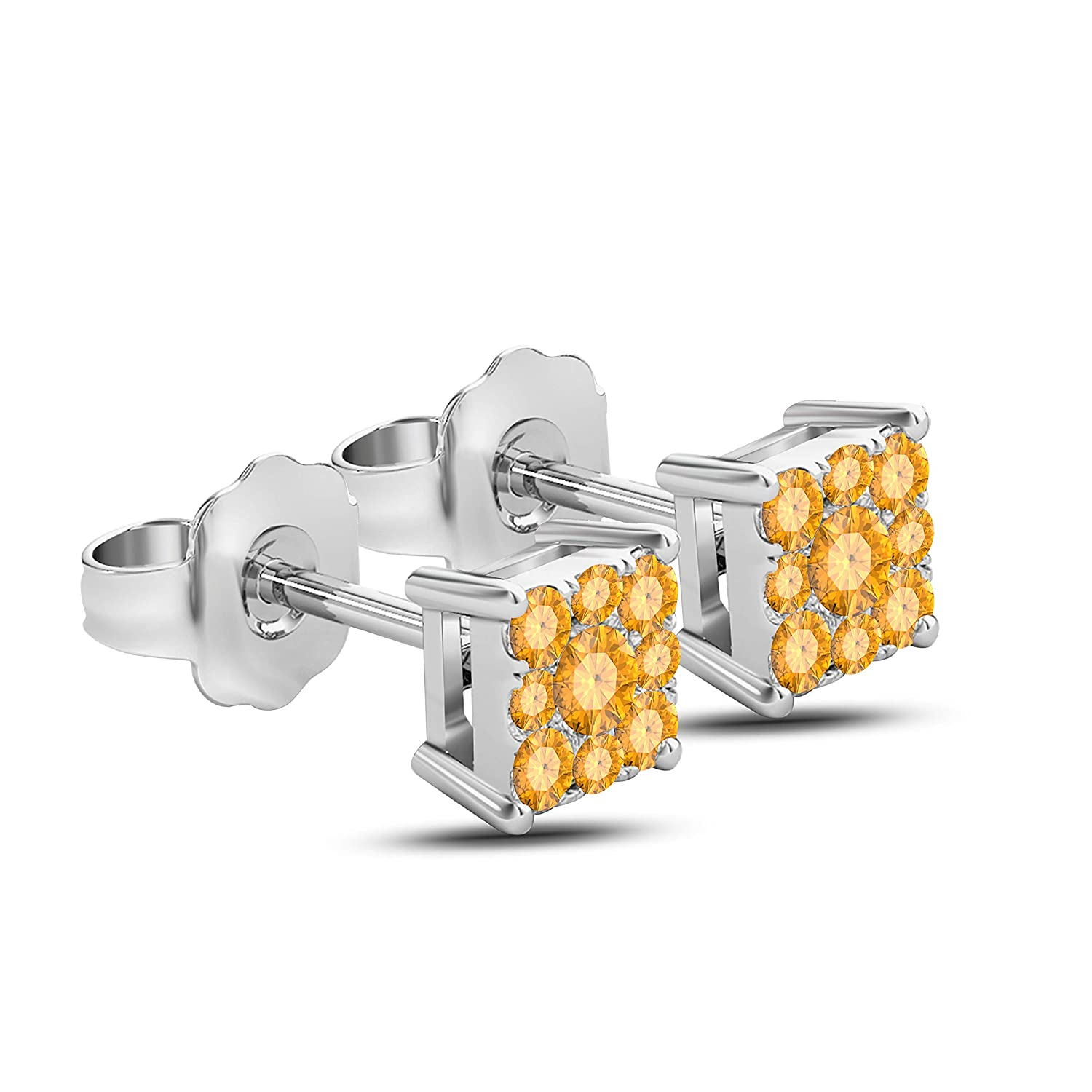Gems and Jewels Plated Alloy Alloy 14k White Gold Plated Alloy 1.00 Ct Round Cut Citrine Stud Earrings For Girls and Womens