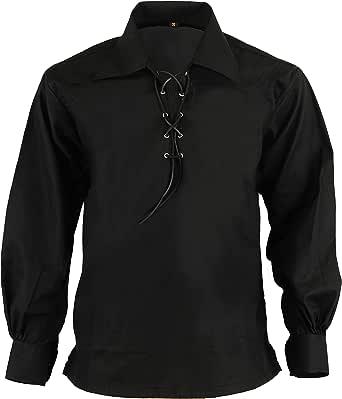 Hamilton Kilts Camisa Escocesa de Jacquard Jacobean Ghillie de montaña Escocesa Negra: Amazon.es: Ropa y accesorios