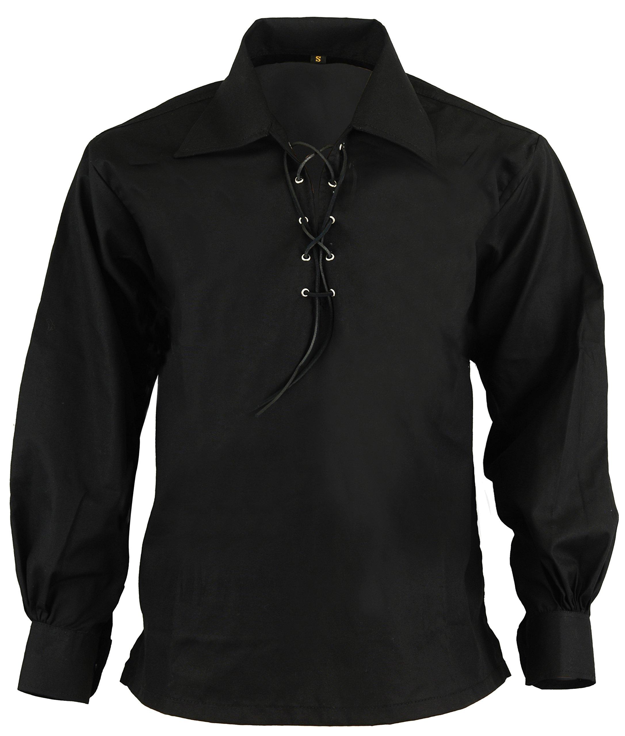Hamilton Kilts Black Scottish Highland Jacobite Jacobean Ghillie Kilt Shirt, XXL
