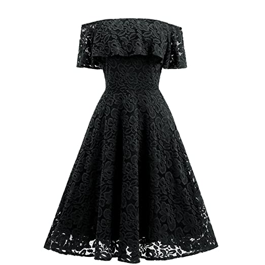 Hyling Womens Off The Shoulder Ruffle Lace Elegant Swing Vintage