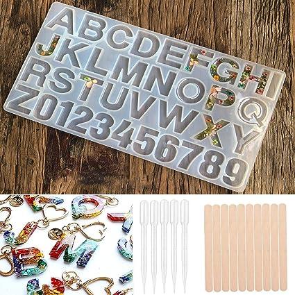 Molde de resina alfanum/érica de silicona con dise/ño de alfabeto de resina para hacer llaveros de joyer/ía de resina epoxi para hacer manualidades y hacer moldes de molde para hacer manualidades small
