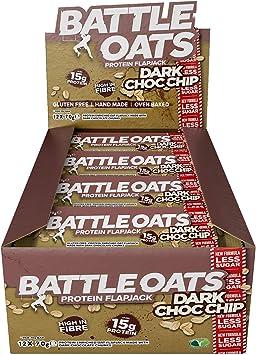 Barras de Proteína Battle Oats Libre de gluten 12 x 70g barras. Sabor a Chips de chocolate negro